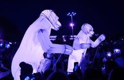 Desempenho de teatro do Menage de Remue no parque de Gorky em Moscou imagem de stock