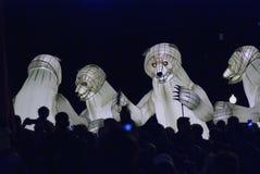 Desempenho de teatro do Menage de Remue no parque de Gorky em Moscou Fotos de Stock Royalty Free
