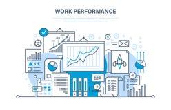 Desempenho de trabalho, controle da qualidade, produtivo, trabalhos de equipa, avaliação de desempenho, análise, planeando Vendas ilustração royalty free