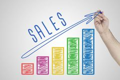 Desempenho de vendas Entregue a carta de negócio crescente do desenho que mostra o crescimento nas vendas foto de stock royalty free