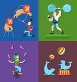 Desempenho do circo com o atleta do ator do palhaço dos animais, ilustração do vetor Imagens de Stock