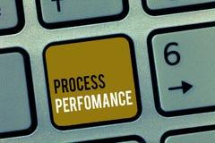Desempenho do processo do texto da escrita da palavra O conceito do negócio para medidas do processo encontra eficazmente o objet fotografia de stock