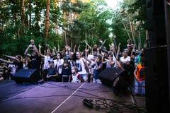 Desempenho grupo rock ` Chumatsky Shlyakh ` do 10 de junho de 2017 em Cherkassy, Ucrânia imagem de stock royalty free