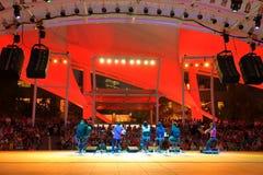 Desempenho no teatro exterior Singapura da esplanada Imagem de Stock