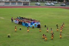 Desempenhos tailandeses da dança dos estudantes no estádio, Tailândia 19 de agosto de 2016 Imagem de Stock Royalty Free
