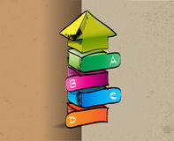 Desenhado à mão colorido acima da seta com quatro etapas ABCD Fotografia de Stock Royalty Free