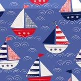 Desenhado à mão lunático com os navios dos pastéis no teste padrão sem emenda do vetor do mar Marine Background náutica bonito ilustração do vetor