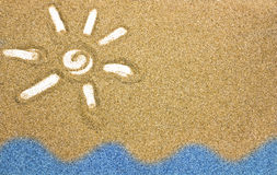 Desenhado na areia Imagens de Stock