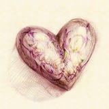 Desenhado no coração do lápis imagens de stock royalty free