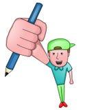 Desenhador de desenhos animados Holding Pencil Cartoon ilustração do vetor