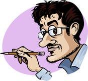 Desenhador de desenhos animados no trabalho Foto de Stock Royalty Free