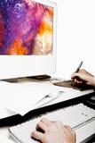Desenhador no trabalho Imagem de Stock