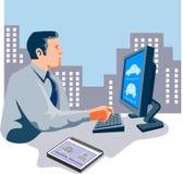 Desenhador que trabalha no computador ilustração stock