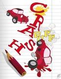 Desenhando o carro e a falha ilustração stock