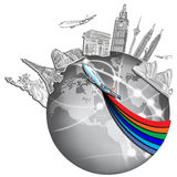 Desenhando o curso ideal em torno do mundo imagens de stock royalty free