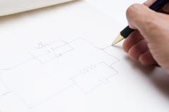 Desenhando um circuito Imagens de Stock Royalty Free