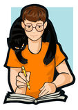Desenhando um menino com um gato Foto de Stock Royalty Free