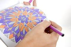 Desenhando uma mandala bonita Imagem de Stock Royalty Free