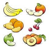Desenhar ajustado de frutas diferentes da cor Imagens de Stock Royalty Free