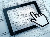 Desenhar com computador da tabuleta Imagem de Stock Royalty Free