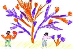 Desenhar das crianças. Árvore com corações. Imagem de Stock Royalty Free