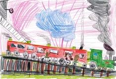 Desenhar das crianças. curso dos cães pelo trem Imagem de Stock