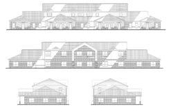 Desenhar das elevações de séries do prédio de escritórios Fotografia de Stock Royalty Free