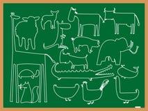 Desenhar dos animais da escola Imagens de Stock
