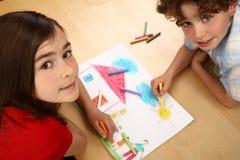 Desenhar dos miúdos Fotos de Stock Royalty Free
