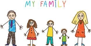 Desenhar dos miúdos. Família ilustração stock