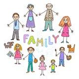 Desenhar dos miúdos Família ilustração royalty free