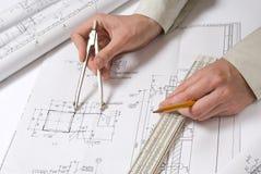 Desenhar e várias ferramentas Foto de Stock