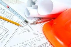 Desenhar e várias ferramentas Fotografia de Stock