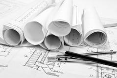 Desenhar e várias ferramentas Imagens de Stock