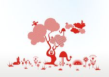 Desenhar nas linhas. animais e árvore Fotografia de Stock Royalty Free