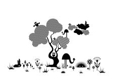 Desenhar nas linhas. animais e árvore ilustração do vetor