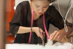 Desenhista asiático do vestido da roupa da forma do alfaiate da mulher Foto de Stock Royalty Free
