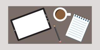 Desenhista Kit da pesquisa com café e Notebok da tabuleta fotos de stock royalty free