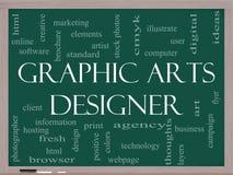 Desenhista Word Cloud Concept das artes gráficas em um quadro-negro Foto de Stock Royalty Free