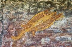 Desenho aborígene antigo da rocha fotografia de stock royalty free
