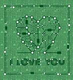 Desenho abstrato no coração do formulário com elementos computador e cartão-matriz Fotos de Stock Royalty Free