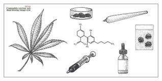 Desenho ajustado da mão de Vecctor do cannabis Imagem de Stock