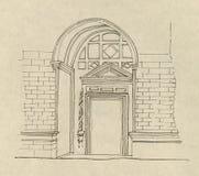 Desenho antigo da entrada   Fotos de Stock Royalty Free