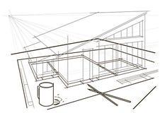 Desenho arquitetónico na tabela com lápis e copo de café Foto de Stock Royalty Free