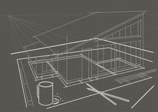 Desenho arquitetónico na tabela com lápis e copo de café no fundo cinzento Fotos de Stock