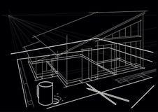 Desenho arquitetónico na tabela com lápis e copo de café no fundo preto Foto de Stock Royalty Free