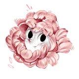 Desenho artístico de sorriso da ilustração do lápis da cara da flor cor-de-rosa de olhos pretos bonita fotos de stock royalty free
