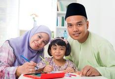 Desenho asiático da família Fotos de Stock Royalty Free