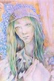 Desenho bonito da fantasia de uma rainha feericamente da floresta da mulher com uma coroa da pérola Fotos de Stock Royalty Free