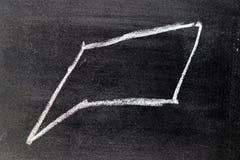 Desenho branco da mão do giz na forma quadrada do discurso da bolha foto de stock
